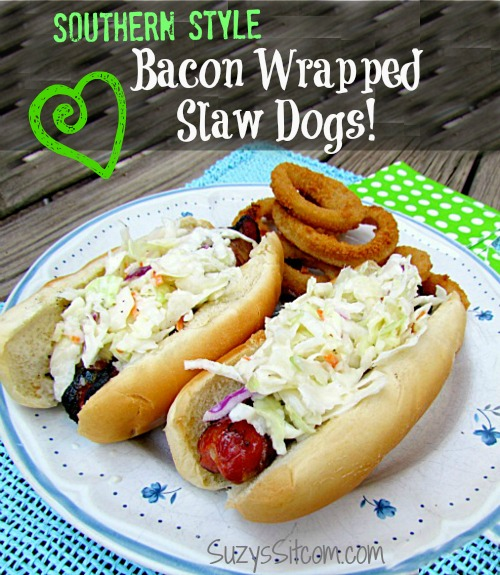 southern style bacon wrapped slaw dogs